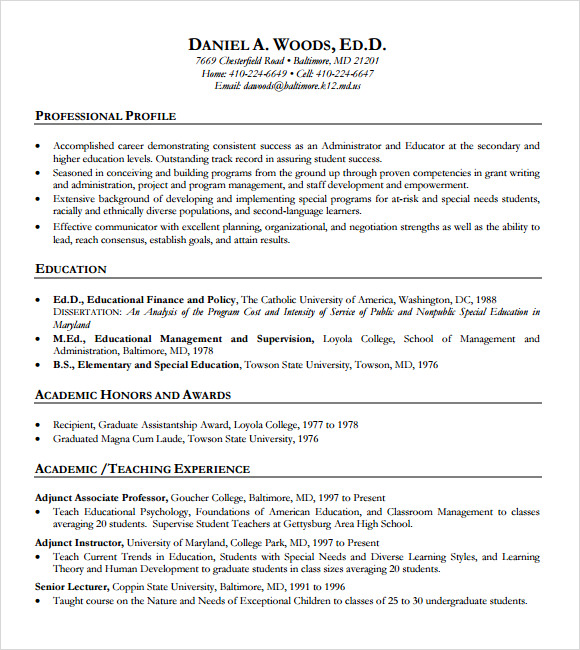 education resume template download teachers curriculum vitae examples higher special teacher