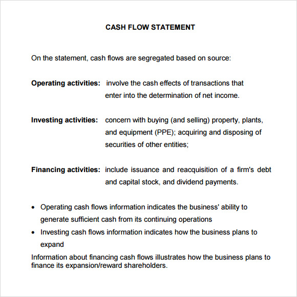 10 Sample Statement Of Cash Flows Sample Templates