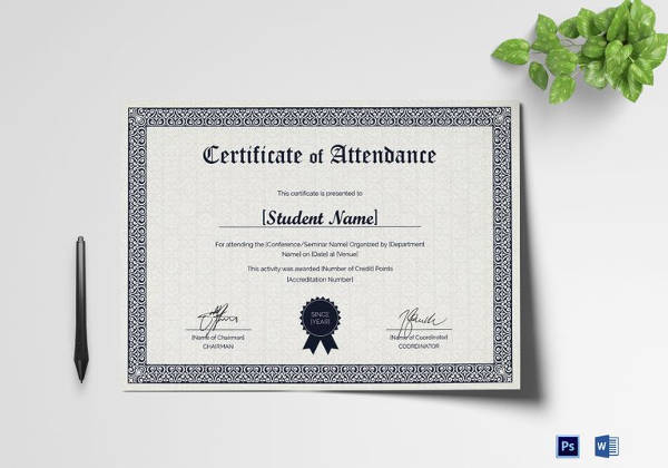 students attendance certificate template in psd