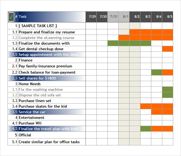tracking tasks in excel - Template