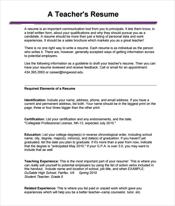 Teacher Resume Templates