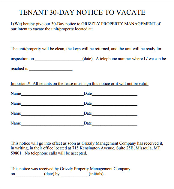 Tenant 30 Day Notice Template