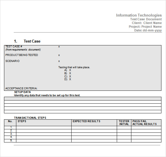 software test case template excel