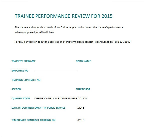 trainee performance review template doc