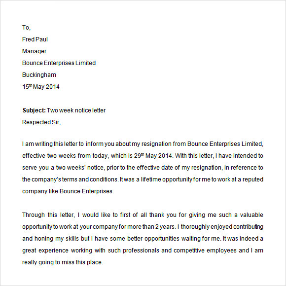 sample two weeks notice letter      free documents in pdf  wordtwo weeks resignation notice letter