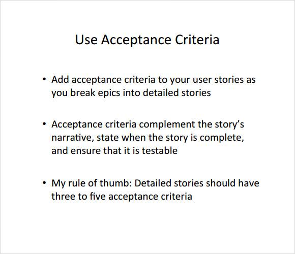 User Story Acceptance Criteria
