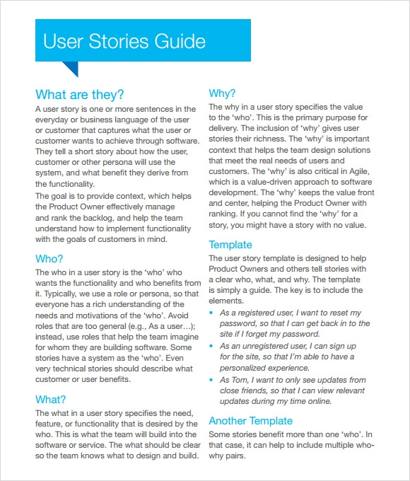 User Story Template   9  Download Free Documents in PDF Word Excel WTt0rViD