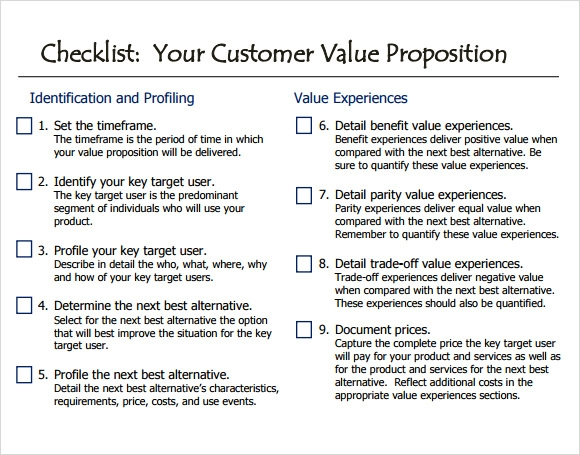 Value Proposition Checklist Template