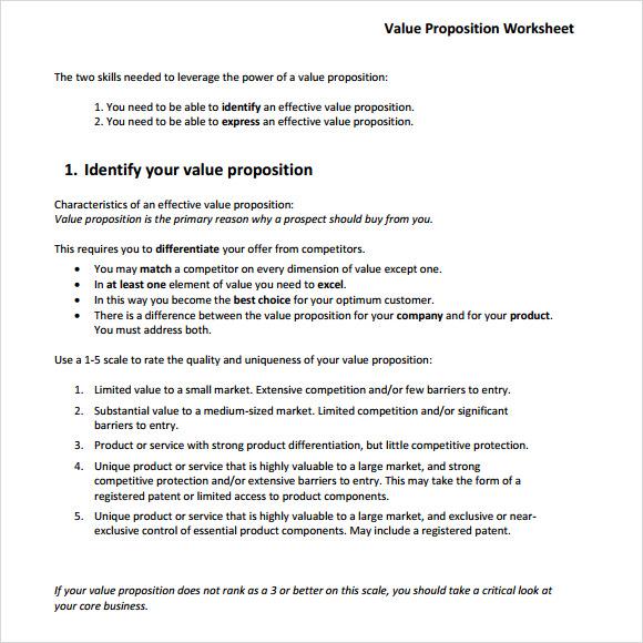 value proposition format