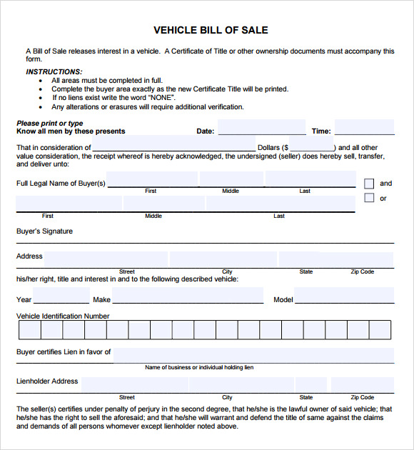 Sample Vehicle Bill Of Sale   Download Free Documents In