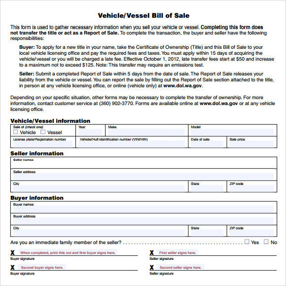 Free 12 Sample Vehicle Bill Of Sales In Pdf Word