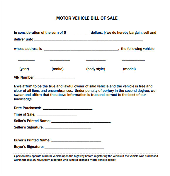 Bill Of Sale Motor Vehicle  Template