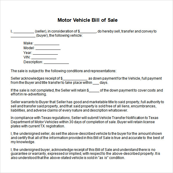 Auto Bill Of Sale Template   6+ Free Excel, Pdf Documents Download