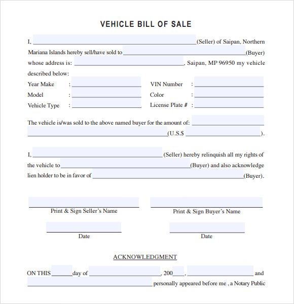 Sample Vehicle Bill Of Sale   Download Free Documents In Pdf  Word