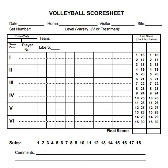 Volleyball Score Sheet Template  Resume Template Sample