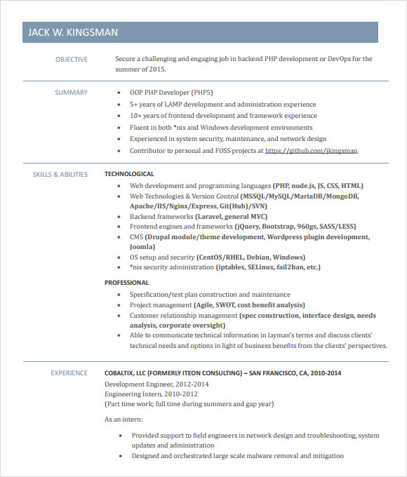 A sample resume for an experienced C++ developer. Tech Careers;  Sample  Resume: C++ Developer.  CSS, PHP and Java;