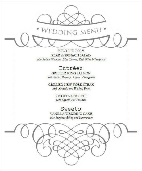 Menu templates sample