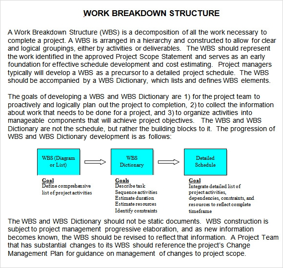 work breakdown structure template doc