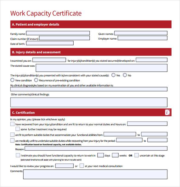 work certificate sample