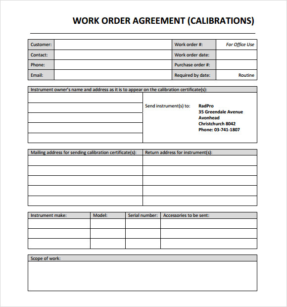 14 Work Order Samples Pdf Word Excel Apple Pages Sample