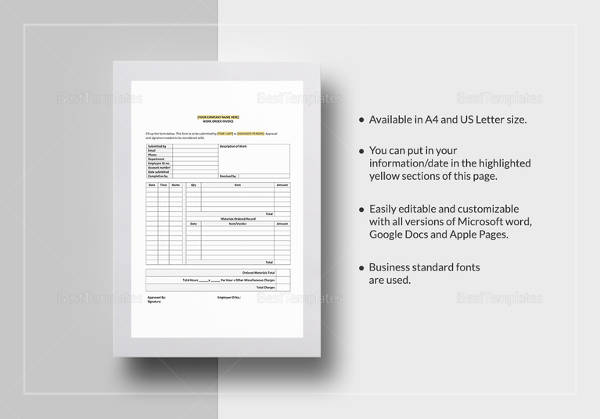 Work Order Invoice Template In Google Docs  Microsoft Work Order Template