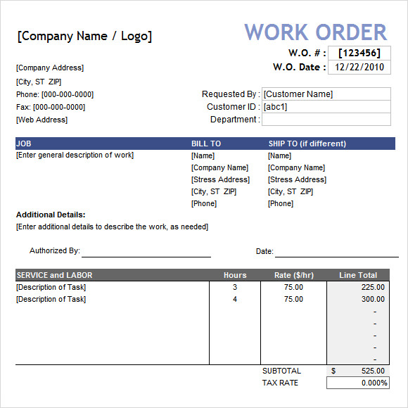 contractor work order form template - blaspiconthejunkexpress.tk