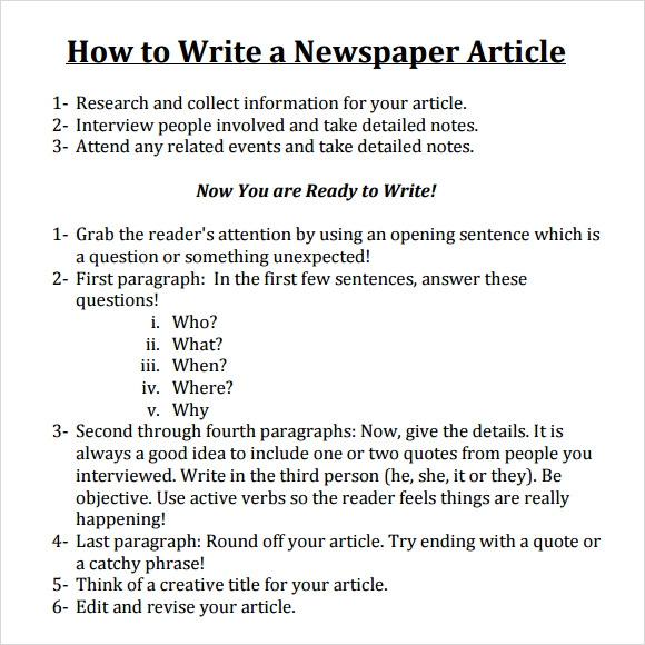Writing a Newspaper Article - Lesson