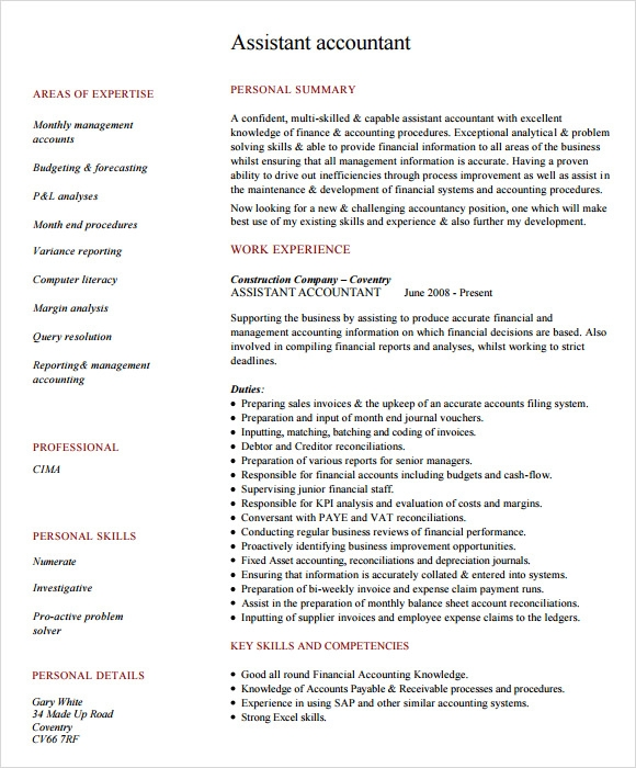 Accountant Resume Template  Resume Excel Skills