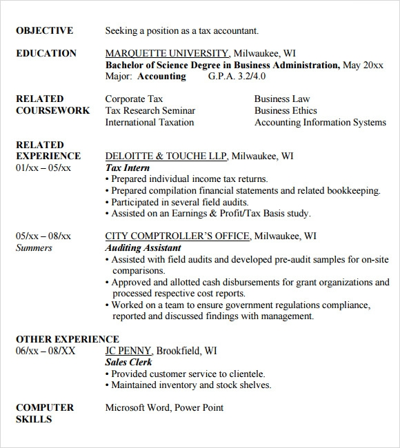 Sample Accounting Resume   Documents In Pdf