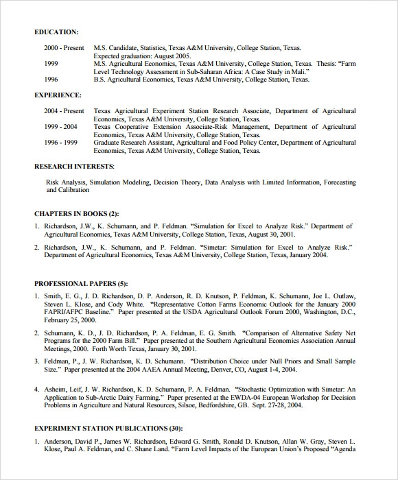 sample resume for agriculture graduates - 7 sample agriculture resumes sample templates