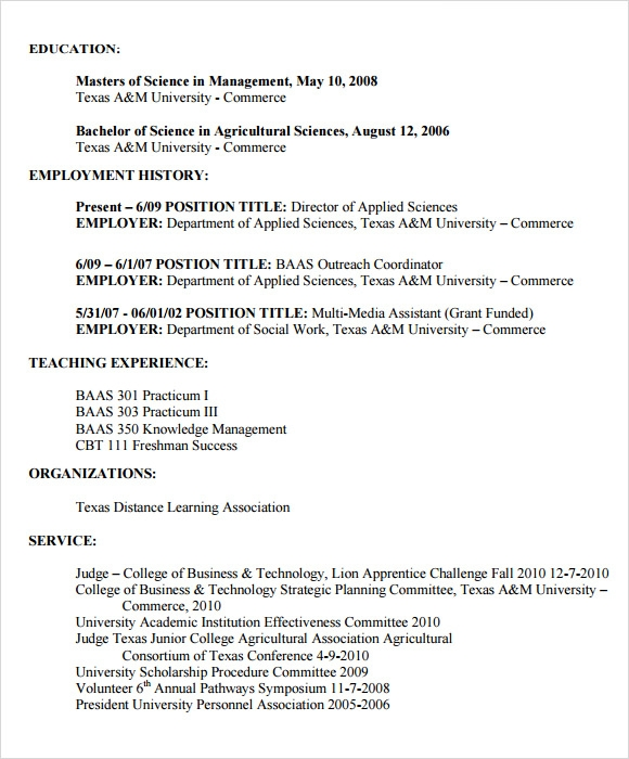 7 sample agriculture resumes
