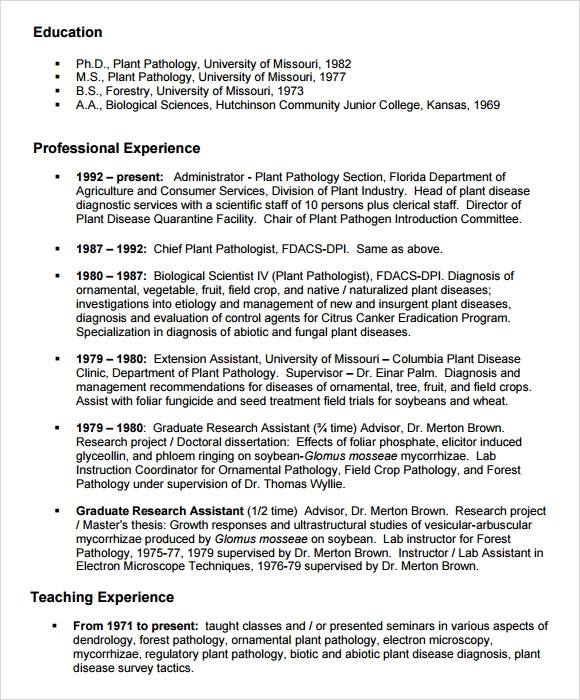 Agriculture Resume Template  Agriculture Resume