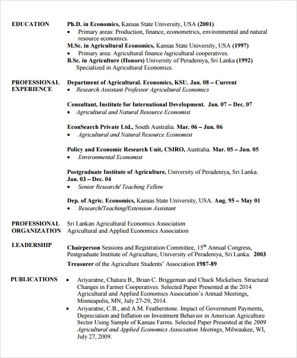 Free 6 Sample Agriculture Resumes In Pdf