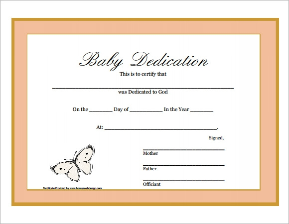 Baby Dedication Certificate 6 Download Free Documents in PDF – Baby Dedication Certificates Templates