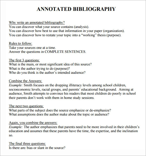 Annotated Bibliography Template 6 Download Free