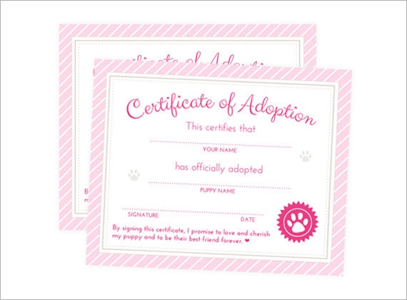 Images Of Blank Adoption Certificate Template - #Sc