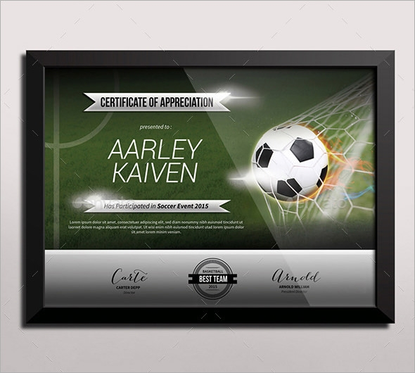 FREE 16+ Sample Football Certificate Templates in PDF ...