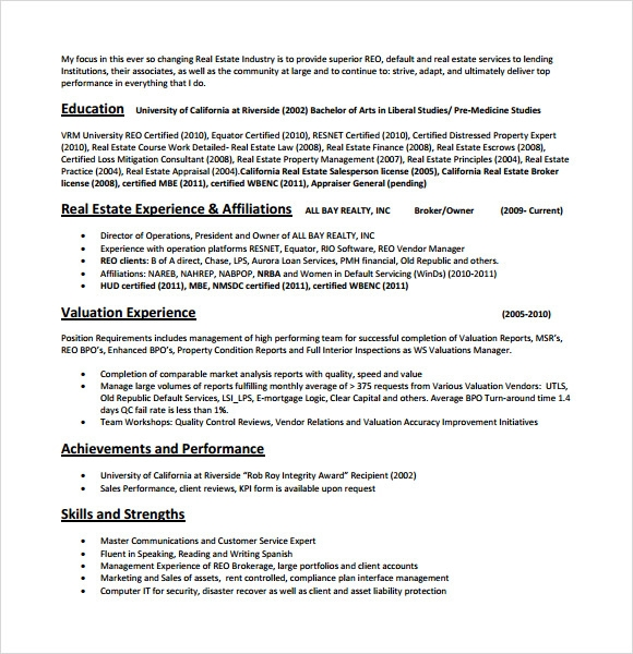 Beau Resume Skills Real Estate Agent Example Good Resume Template
