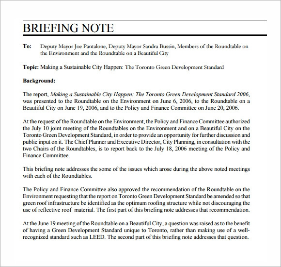 briefing note template .