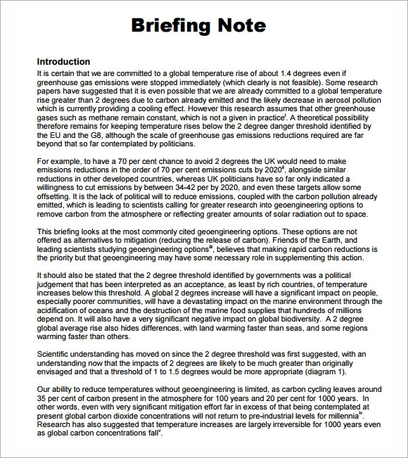 Briefing Note Template - 7 Download Documents in PDF , PSD ...