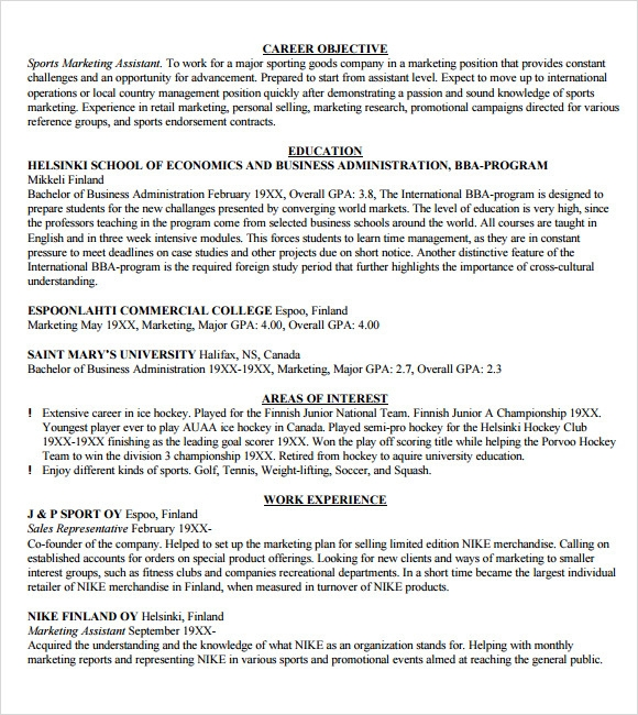sample marketing resume template 6 free documents download in word