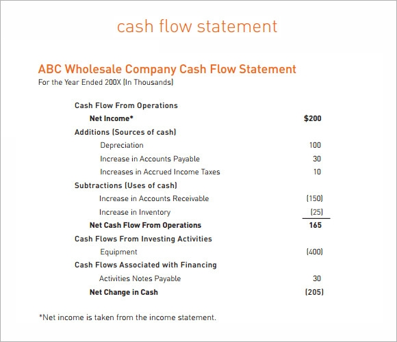 printable cash flow statement template .