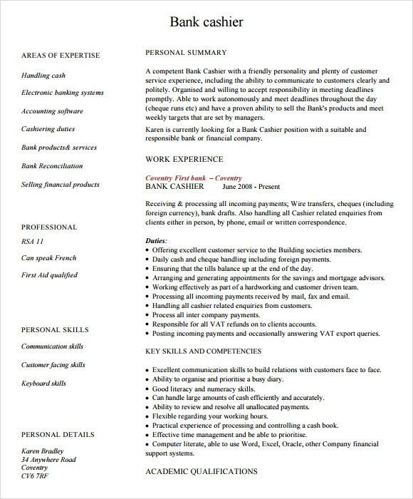 resume cashier sample 29052017 - Example Resume For Cashier