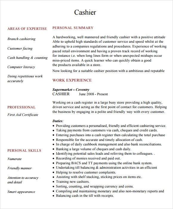 Beautiful Cashier Resume Sample
