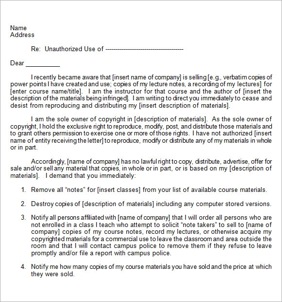 sample cease and desist letter to former employee - Ideal.vistalist.co