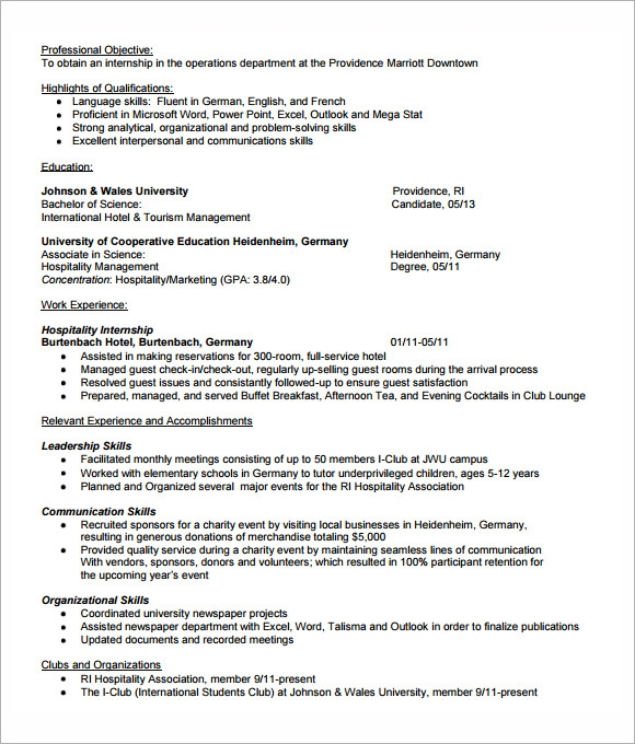 college internship resume template