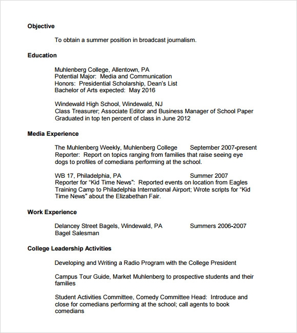 Sample College Resume   Documents In Pdf  Psd Word