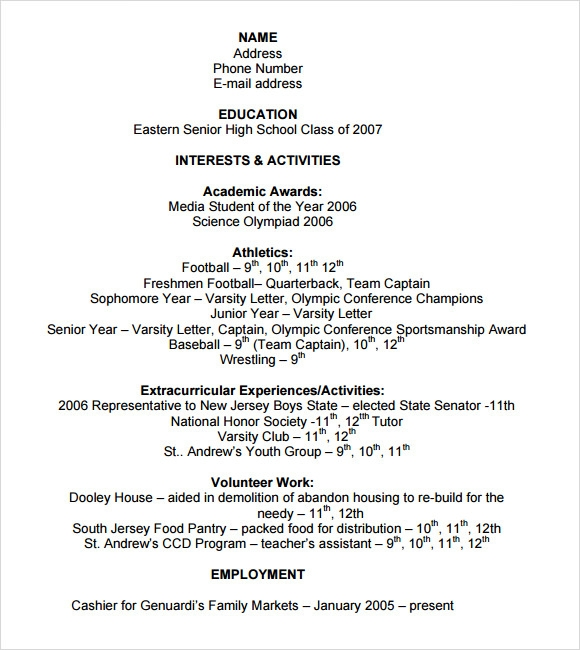 College Resume Template Pdf  College Sophomore Resume
