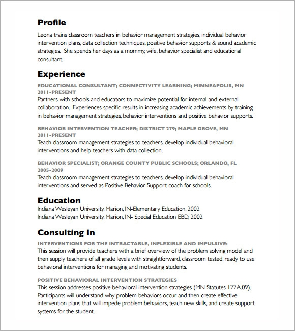 Sample Consultant Resume