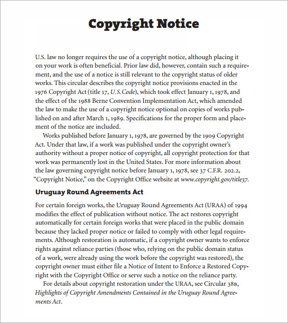 Sample Copyright Notice 5 Documents in PDF – Copyright Notice Template